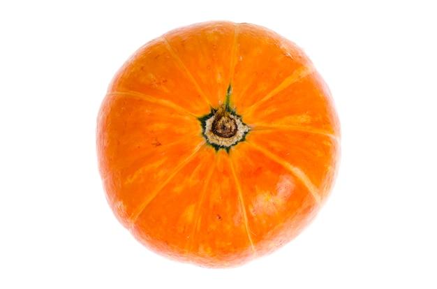 Kleine oranje pompoen die op witte achtergrond wordt geïsoleerd.