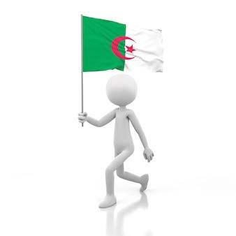 Kleine persoon die met de vlag van algerije in een hand loopt. 3d-rendering afbeelding