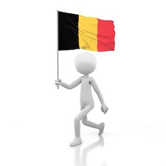 Kleine persoon die met de vlag van belgië in een hand loopt. 3d-rendering afbeelding