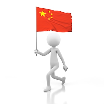 Kleine persoon die met de vlag van china in een hand loopt. 3d-rendering afbeelding