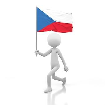 Kleine persoon die met de vlag van de tsjechische republiek in een hand loopt. 3d-rendering afbeelding