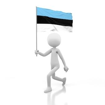 Kleine persoon die met de vlag van estland in een hand loopt. 3d-rendering afbeelding