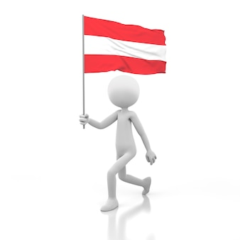 Kleine persoon die met de vlag van oostenrijk in een hand loopt. 3d-rendering afbeelding