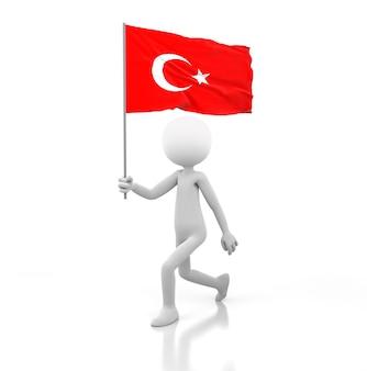 Kleine persoon die met de vlag van turkije in een hand loopt. 3d-rendering afbeelding