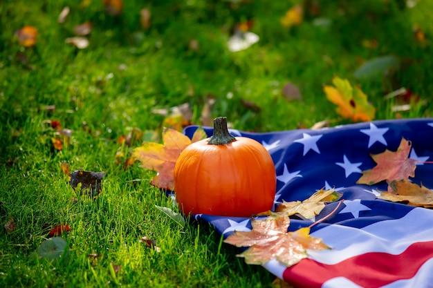 Kleine pompoen en esdoorn bladeren met usa vlag op groen gras in een tuin