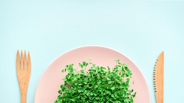 Kleine portie microgroen op een bord. concept van dieet en gewichtsverlies.