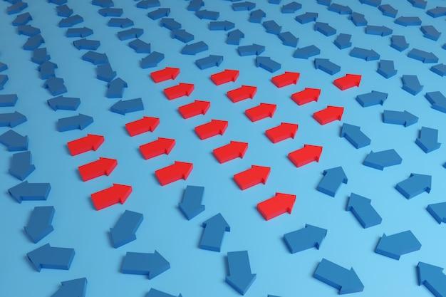 Kleine rode pijlen die in dezelfde richting wijzen, vormen een grote pijl naast vele blauwe pijlen die in verschillende richtingen wijzen.