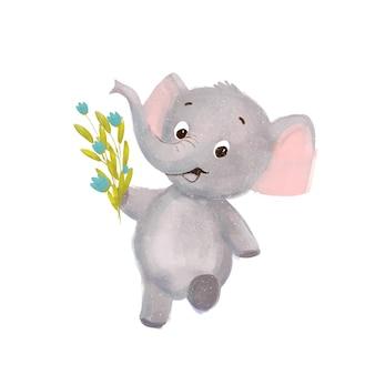Kleine schattige cartoon olifant met bloemen