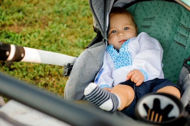 Kleine schattige jongen gekleed in het geborduurde shirt liggend in de groene kinderwagen