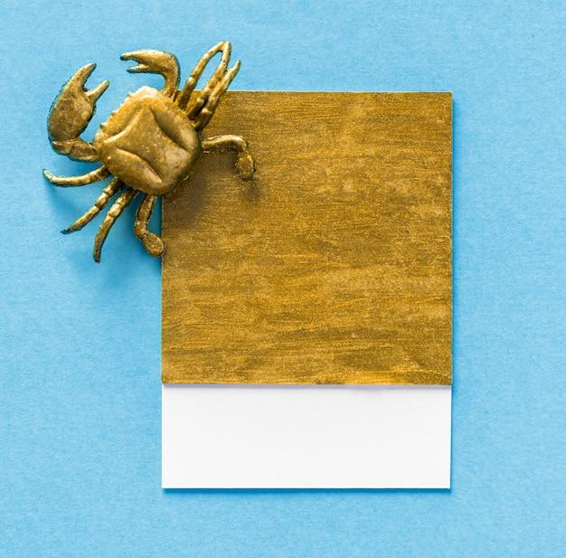 Kleine schattige krab op een papier