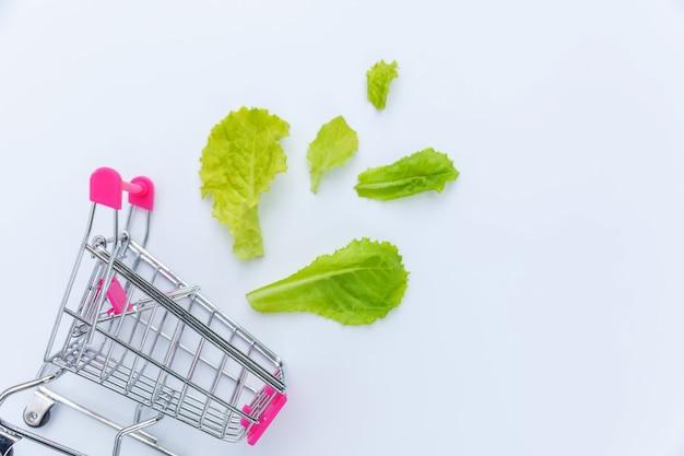 Kleine supermarkt kruidenier duwkar om te winkelen met groene slabladeren geïsoleerd op een witte achtergrond