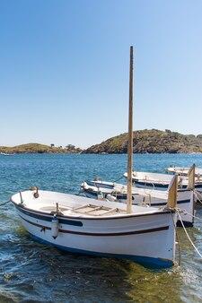 Kleine traditionele vissersboten die in haven worden vastgelegd