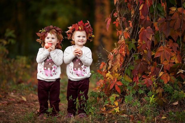 Kleine tweelingmeisjes houden appels in de herfsttuin gezonde voeding halloween en thanksgiving