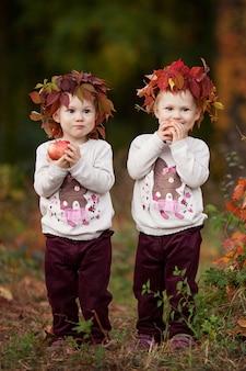Kleine tweelingmeisjes met tapples in de herfsttuin gezonde voedinghalloween thanksgiving-tijd