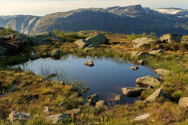 Kleine vijver op het spoor naar trolltunga, in een prachtig landschap in odda, noorwegen