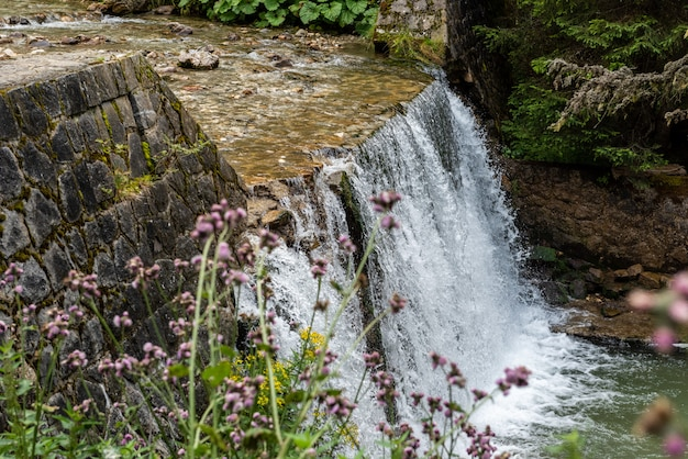 Kleine waterval in bucegi-bergen, roemenië