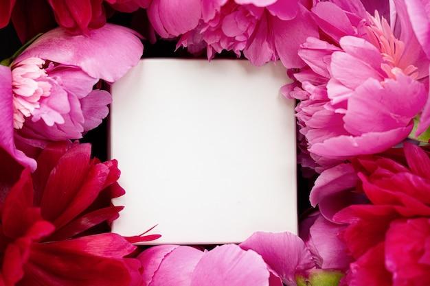 Kleine witte doos in een frame van roze en rode delicate pioenrozen op een mooie zwarte cementachtergrond. romantisch begrip. platliggend. briefkaart