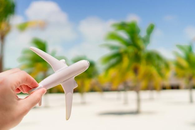 Kleine witte miniatuur van een vliegtuig op exotisch strand en palmt rees