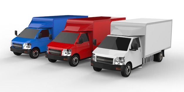 Kleine witte, rode, blauwe vrachtwagen. auto bezorgservice. levering van goederen en producten aan verkooppunten