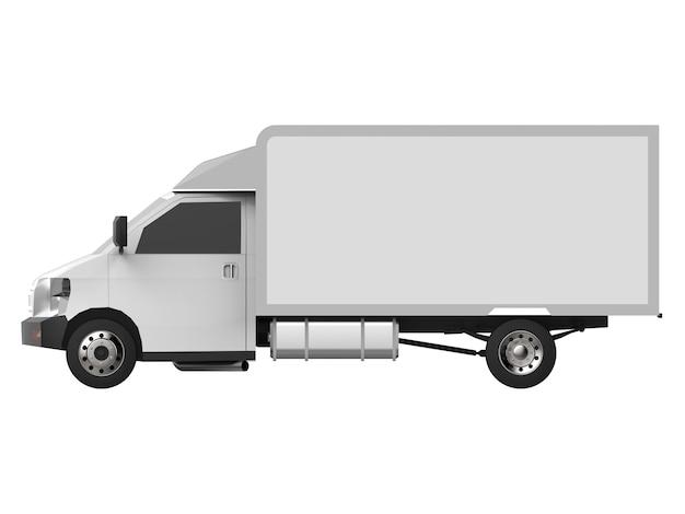 Kleine witte vrachtwagen. auto bezorgservice. levering van goederen en producten aan verkooppunten. 3d-weergave