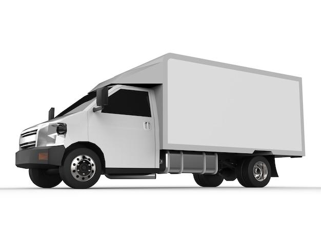 Kleine witte vrachtwagen. auto bezorgservice. levering van goederen en producten aan winkels. 3d-weergave.