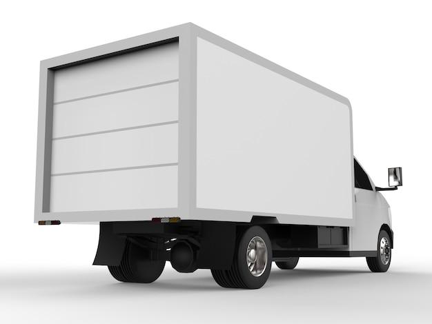 Kleine witte vrachtwagen. car-bezorgservice. levering van goederen en producten aan winkels.