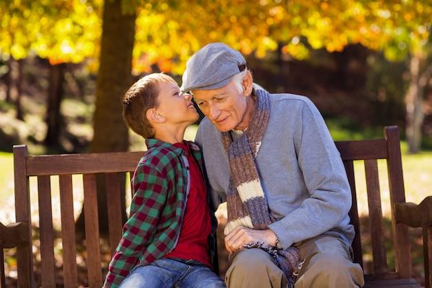 Kleinzoon fluisteren naar grootvader in het park
