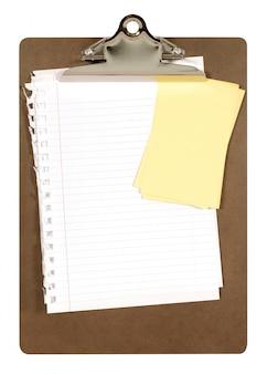 Klembord met schrijfpapier