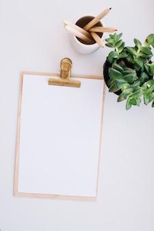 Klembord, potloden en plant