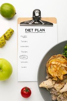 Klembord voor maaltijdplanning en voedselassortiment