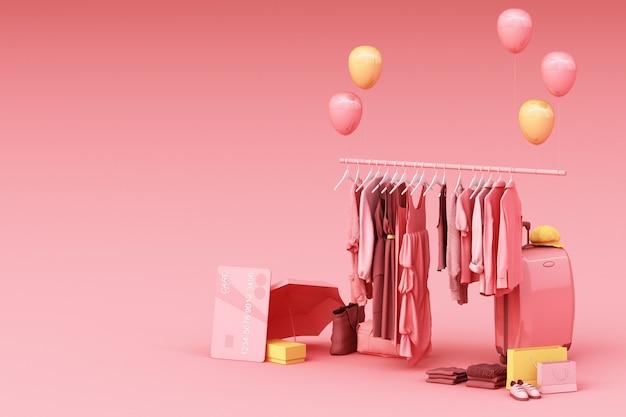 Kleren op een hanger die door zak en marktsteun met creditcard op vloer het 3d teruggeven omringen