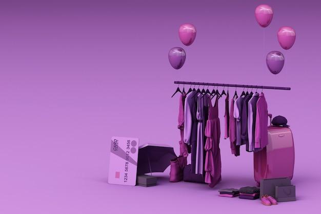 Kleren op een hanger omgeven door tas en marktonderstel met creditcard op de vloer. 3d-weergave