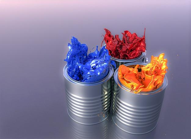 Kleur explosie van verfblikken. 3d-weergave