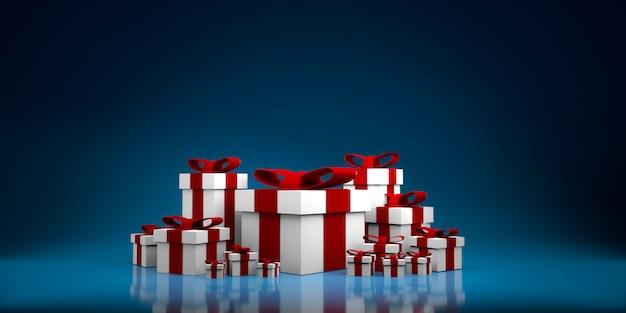 Kleur geschenkdoos terwijl. 3d illustratie
