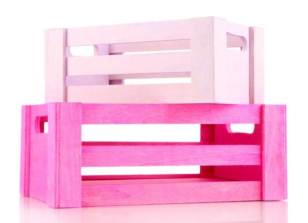 Kleur houten kisten, geïsoleerd op wit Premium Foto