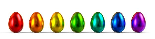 Kleur metallic eieren op witte achtergrond. 3d-weergave