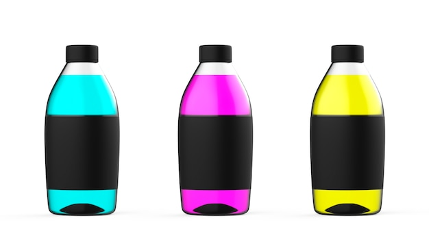 Kleur plastic fles set met kleurrijke water geïsoleerde transparante vloeistofcontainer kleur mockup
