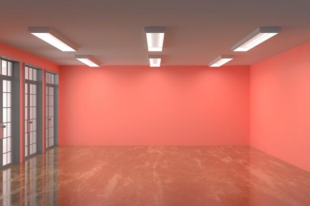 Kleur van de lege ruimte de veelvoudige muur met marmeren vloer en het mooie lichte, 3d teruggeven