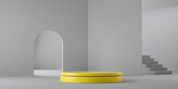 Kleur van het jaar 2021. abstracte gele en grijze lege geometrische 3d render