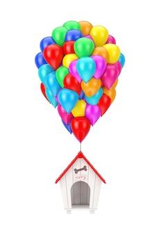 Kleur vliegende ballonnen op het houten cartoon hondenhok op een witte achtergrond. 3d-rendering