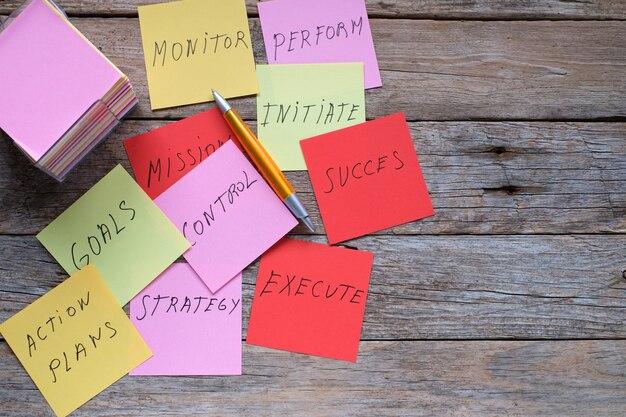 Kleurenbladen met planning en strategie voor de oprichting van een bedrijf en kopieerruimte