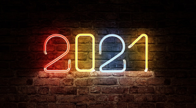 Kleurenneonlicht van het nieuwjaarssymbool van 2021 op bakstenen muur