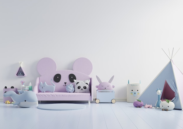 Kleurenset muur in de kinderkamer op muur witte kleuren .3d rendering