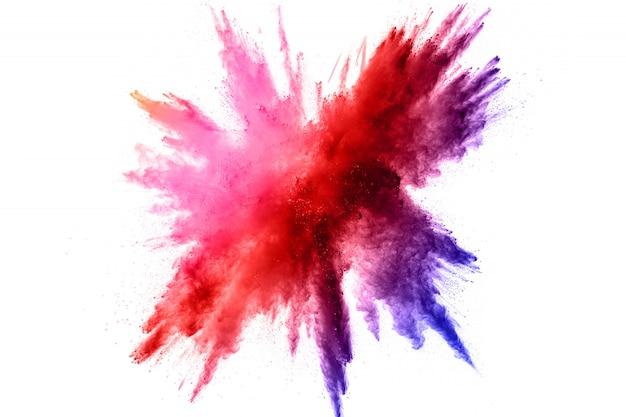 Kleurpoeder-explosie. kleurrijke spatten van stof.