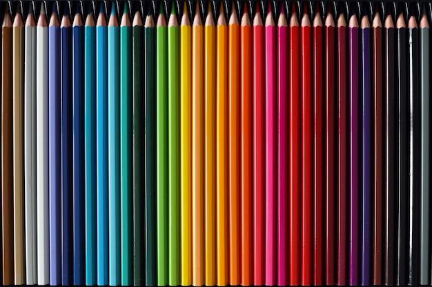 Kleurpotloden palet. schoolbenodigdheden voor kinderen. kleurrijke houten potloden opgesteld.