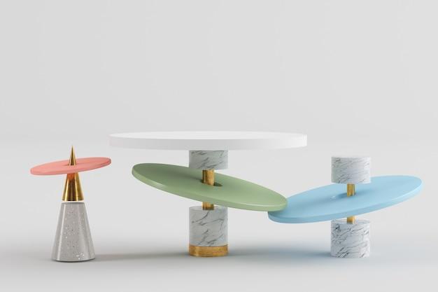 Kleurrijk abstract geometrisch podium voor productpresentatie 3d-rendering mockup