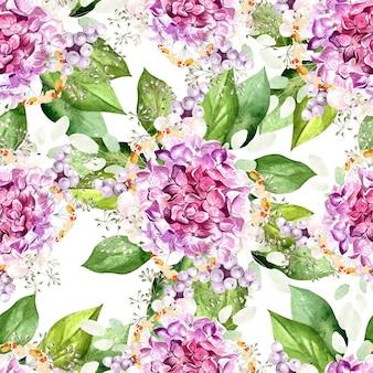 Kleurrijk aquarelpatroon met bloemenhortensia, planten en bladeren. illustratie