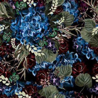 Kleurrijk aquarelpatroon met bloemenhortensia, roos, vetplanten en bladeren. illustratie