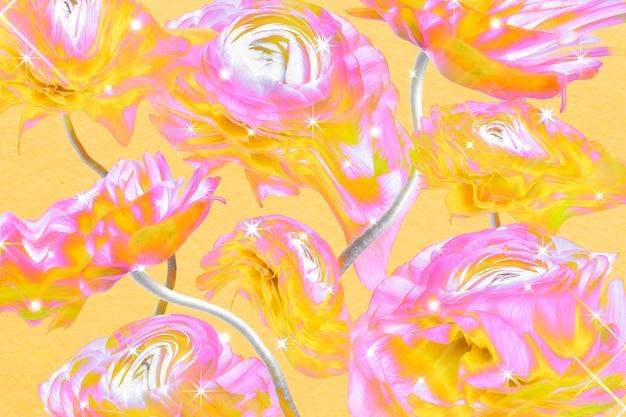 Kleurrijk bloemenbehang als achtergrond, trippy esthetisch ontwerp
