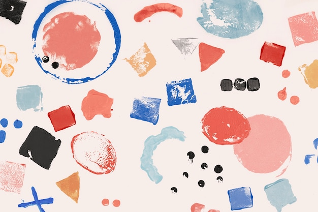 Kleurrijk blokdrukpatroon als achtergrond met geometrische vormen